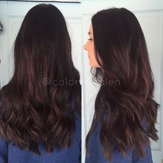 Dark brown hair with burgundy red highlights balayaged in