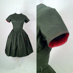 Vintage 1950s Green & Red Cotton Day Dress  Large by SLVintage, $85.00