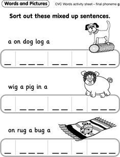 Words and Pictures - Activity sheet 'g'