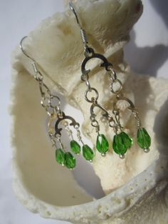 Sterling Silver Wire Wrapped Light Green Faceted by AHintofFlair, $32.00