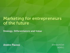 Andre Piazza @AndreAtDell http://linkd.in/andrepiazza Andre Piazza @AndreAtDell #SMSG Marketing for entrepreneurs of the f...