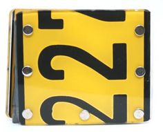 £15.00 Recycled car number plates wallet, in yellow, handmade in South Africa.  Learn more... http://www.thefairtradestore.co.uk/fair-trade-accessories/recycled-car-number-plates-wallet-yellow/prod_491.html  #Fairtrade #Car #SouthAfrica #Recycled #Eco