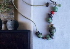 Excited to share the latest addition to my #etsy shop: Handmade Ceramic Necklace, Patina Green Necklace, Ancient Roman Glass, Copper, Handcrafted Ghana Glass, Rustic Style Necklace, Gift for Her http://etsy.me/2yTJ0kv #jewelry #necklace #green #no #glass #screw #women