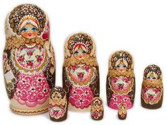pink russian nesting dolls...I've always wanted a doll like this