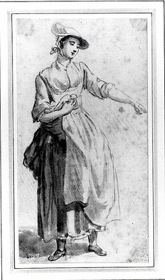 A Young Woman, Full Length, with Her Left Arm Outstretched  Paul Sandby (Nottingham 1730London 1809)