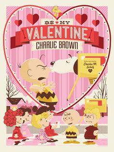 Be My Valentine Charlie Brown - Tom Whalen Charlie Brown Movie, Charlie Brown Valentine, Charlie Brown Und Snoopy, Snoopy Valentine, Valentine Poster, Charlie Brown Christmas, Vintage Valentines, Happy Valentines Day, Valentine Cards