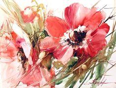 Fabio Cembranelli   Anemonas, Watercolor on Yupo, 2014