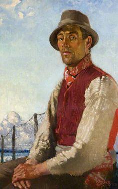 A Lough Neagh Fisherman, 1920 by Charles Lamb (Irish 1893–1964)