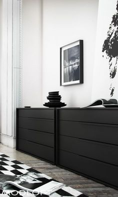 One of my favorites for its clean lines and grand size. The Modloft Jane dresser even has a top vanity drawer for your personal items. Available in our quick-ship program for immediate delivery. Modern Bedroom, Bedroom Decor, Black Dressers, White Houses, My New Room, Apartment Living, Living Spaces, Sweet Home, New Homes