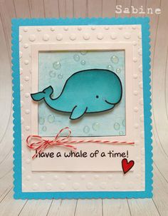 Polka Dots Lawn Fawn, critters in the sea, whale, card