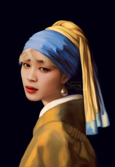 """""""[BTS as Famous Paintings] Jimin - Girl with a Pearl Earring, (Johannes Vermeer, ✨ I've always thought that Jimin would be perfect for this piece and I'm so happy to finally be able to finish this painting! Jimin Fanart, Kpop Fanart, Process Art, Painting Process, Anime Faces Expressions, Jimin Selca, Bts Girl, Johannes Vermeer, Foto Jimin"""