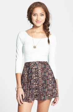 Lush Button Front Skater Skirt (Juniors) available at #Nordstrom
