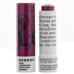 KORRES Mandarin Lip Butter Stick SPF15 - Purple (305 UYU) ❤ liked on Polyvore featuring beauty products, skincare, lip care, lip treatments, makeup, beauty, fillers, lips, cosmetics and korres