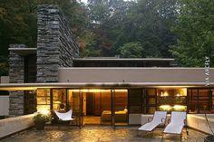 """Fallingwater"" (patio) by Frank Lloyd Wright Organic Architecture, Beautiful Architecture, Residential Architecture, Architecture Design, Falling Water Frank Lloyd Wright, Frank Lloyd Wright Homes, Wisconsin, Falling Water House, Falling Waters"