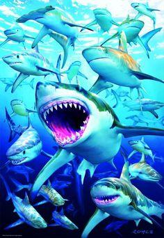 Referencia: 17085 Marca: EDUCA Dimensiones: 50x40cm aprox. Piezas: 500 Piezas  Multitud de tiburones de distintas razas en el fondo marino es lo que podemos observar en este impactante rompecabezas.  Consíguelo ya en puzzlemania.net Shark, Club, Products, Sharks, Animales, Puzzles, Gadget