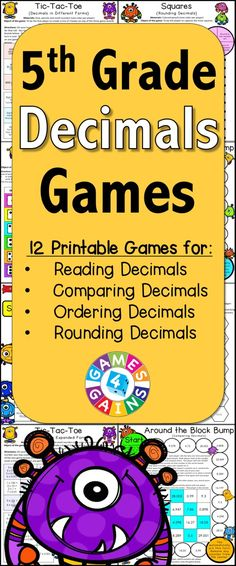 Decimals Games for Grade contains 13 fun and engaging printable board games… Teaching 5th Grade, 5th Grade Teachers, Fifth Grade Math, 5th Grade Classroom, Teaching Math, 5th Grade Math Games, Classroom Ideas, Math 5, Guided Math