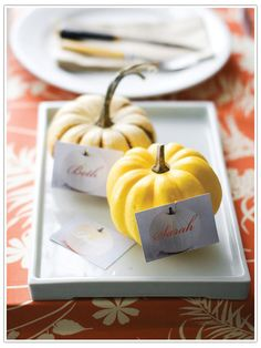 halloween parties, place card holders, fall parties, thanksgiving table settings, place cards, name cards, person pumpkin, fall decorating, places