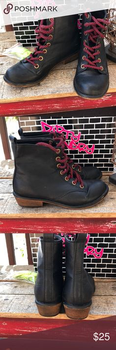 Dirty Laundry Preview Black Booties.7. Great con Dirty Laundry Preview Metal Wash Black Tumble Ankle Boots. Size 7. Great condition! Comes with red and neon green shoelaces, in original box. Dirty Laundry Shoes Ankle Boots & Booties