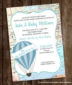 Next big adventure themed baby shower custom invitations baby boy travel baby shower invitation hot air balloon invitation oh the places hell go baby shower invitation travel balloon and map baby filmwisefo