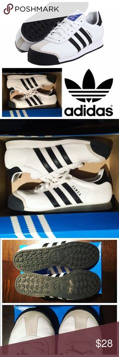 "Adidas Samoa Originals White/Black/Grey suede EUC Hard to find, white Samoas w/ black accents and gray suede T detail at the toe. Only worn a few times (minor scuff on the toes that should buff out). US Women's size 10, Men's size 8. Retail price: $70.   By Adidas First released in the '80s, the Samoa quickly became one of the decade's favorite trainers. This version has the same rubber toe bumper and heel tab as the original, but with a smooth grain leather upper and suede ""T"" toe detail…"