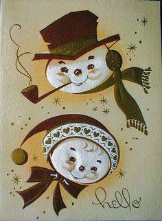 Snowmen Vintage Card