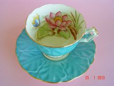 Gold Trimmed AYNSLEY Turquoise Blue with Water Lilies Teacup & Saucer duo. VG.   eBay