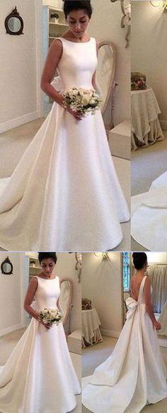 White Satin A Line Backless Wedding Dresses with Sweep Train #Satinweddingdress #Aline