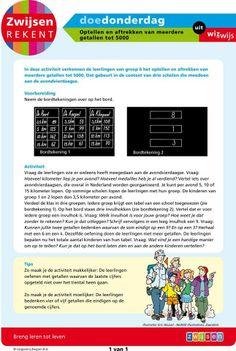 Optellen en aftrekken van meerdere getallen tot 5000 (groep 6) Math Challenge, Mathematics, Bb, Teacher, School, Math, Professor, Schools