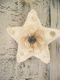 Shabby chic embellished felt Christmas ornament