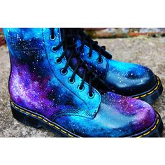Galaxy Cosmic Gothic Print Doc Dr Martens. Hand Painted . made to... ($315) ❤ liked on Polyvore
