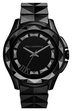 KARL LAGERFELD '7' Beveled Bezel Ceramic Bracelet Watch, 44mm available at #Nordstrom