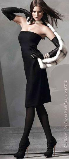 Kim Cloutier for Aspen Magazine 2010 - Little Black Dress » Max Mara - Gloves » Dior - Tights » Wolford - Bracelets » Joan Boyce