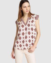 Blusa de mujer Indi&Cold con estampado y escote de pico