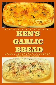 Ken's Garlic Bread is an easy, crunchy, tasty side dish for salads, soup or main courses. Broiled baguette has Parmesan, garlic, butter, paprika and parsley! via @gratefuljb