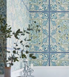 Created with elements from two embroideries designed by William Morris Wilhelmina is a large tiled repeat of scrolling acanthus leaves and bellflowers surrounded by a decorative border.Extra wide: please call for quantity advice. Lily Wallpaper, Rabbit Wallpaper, Wallpaper Online, Craftsman Wallpaper, Pottery Barn, Sunflower Wallpaper, Decorative Borders, Relax, Nature Bathroom