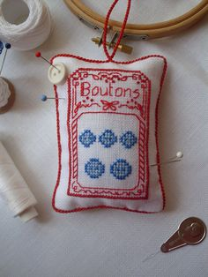 We love this cross stitched button card - made into a cute pincushion ;)
