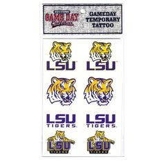 NCAA Louisiana State Fightin Tigers Tattoo by Game Day Outfitters. $8.16. Team Logo and Colors. Great for Every Fan!. Officially Licensed NCAA Product. Show Your Team Pride. Louisiana State Fightin Tigers Tattoo