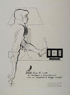 Rene Gruau art   ... Ad Jaz Clock Table Bird Lamp Rene Gruau Original Advertising   eBay