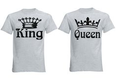 FASCIINO Matching Couple T-Shirt Set - King and Queen Crowns (King Shirt XLarge/Queen Shirt Xlarge Heather Gray). Matching Shirts specially designed for couple. Wash Inside out with cold water, UNISEX ADULT SIZES. Print may appear smaller on bigger sizes. Set of 2 (Two shirts included). Designed and Printed in USA.