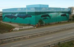 'Great Whales of New Bedford' - Wyland Wall - Rte. 18 North view
