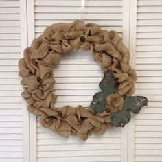 Unique Burlap Wreath with Metal Blue Butterfly, Wreath for All Year - pinned by pin4etsy.com