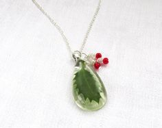 Pressed Flower Necklace  Christmas Holly by LittleSilverFingers