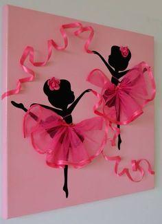 Canvas Wand Kunst mit pinken Ballerinas