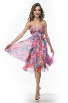 Fuchsia Printed Sheath Spaghetti Mini #Dress #Stylewe