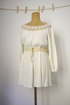 Boho White Cotton Dress- Crochet Lace - Bell Sleeves - Festival or Beach - Hippie Style $68.00 USD vintagefables