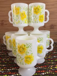 Vintage Milk Glass Pedestal Mugs  Matched Set by PineStreetPickers    .....................Please save this pin.   .............................. Because for vintage collectibles - Click on the following link!.. http://www.ebay.com/usr/prestige_online