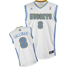 Adidas NBA Denver Nuggets 8 Danilo Gallinari New Revolution 30 Swingman  Home White Jersey Denver Nuggets bf321fc2b