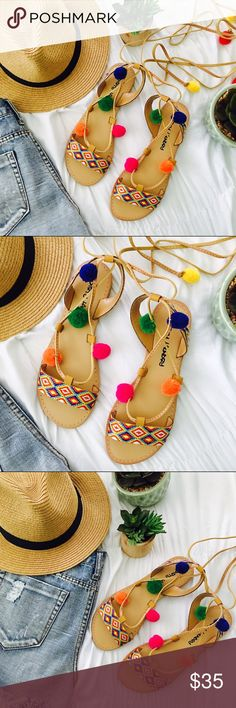 •Cartagena Pom Pom Lace-Up Sandals• Head to beaches in our colorful vibrant Cartagena gladiator sandals featuring decorative pom poms.   •Color: Tan with Multi Color  •Style: Gladiator Sandals •Closure: Tie •Features/Details: Embellished threaded fabric and decorative pom poms   •Photos are of actual product  •Price is firm  •10% discount on bundles of two or more  •Photo Credit: The Wanderlust Bazaar  •Boho, beachy, pom pom, tribal, ethnic, sandals, gladiator The Wanderlust Bazaar Shoes…