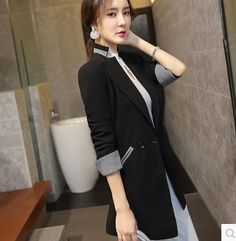 a1c33147f34 Female 2016 Autumn Spring Women blazer coat Korean Slim Long Style Casual  outerwear Plus size Slim Jacket suit
