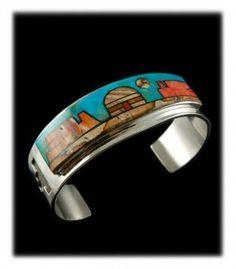 Pictorial Hogan Inlay Bracelet by Navajo Jewelry artisan Edison Yazzie